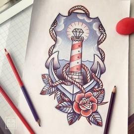 Морская тату с маяком и якорем