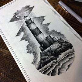 Красивый маяк в стиле лайнворк