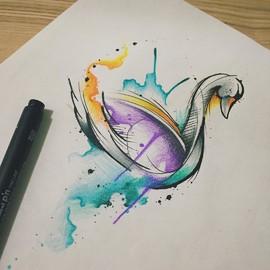 Лебедь в стиле акварель