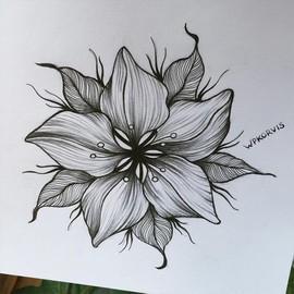 Черно-белый цветок в стиле лайнворк
