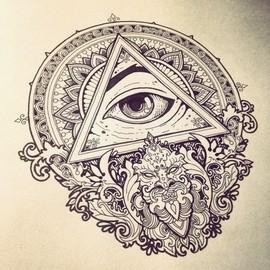 Глаз в треугольнике с мандалой