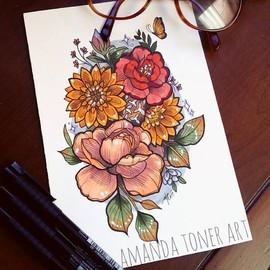Красочный букет цветов на бедро