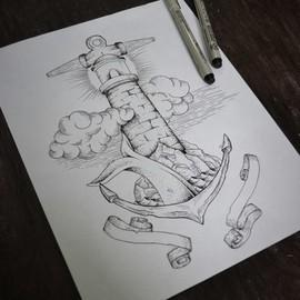 Маяк в виде якоря с ленточками для надписей