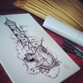 Корабль с маяком и компасом
