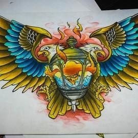 Двуглавый орёл с фонарем