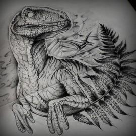 Черно-белый динозавр с папоротником