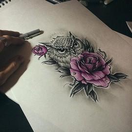 Сова с цветами