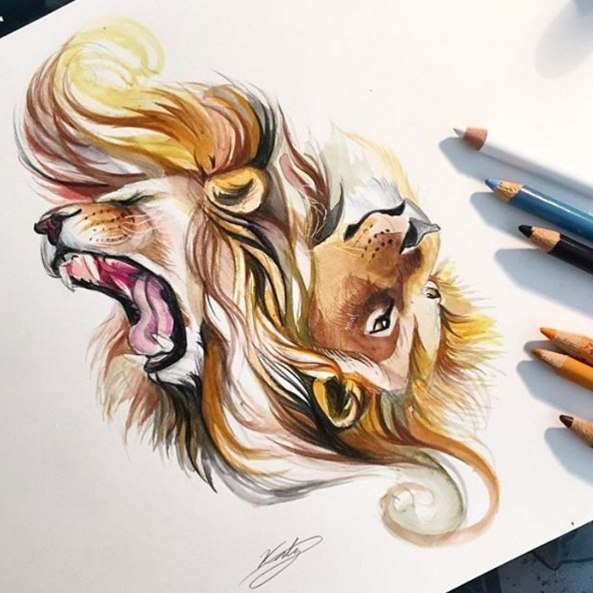 Тату эскиз львы графика